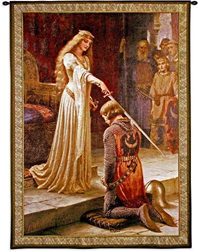 The Accolade by Edmund Blair Leighton | Woven Tapestry Wall Art Hanging | Medieval Knight Ceremony | 100% Cotton USA Size 53x42