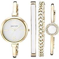 Anne Klein Women's AK/3290 Bangle Watch and Swarovski Crystal Accented Bracelet Set