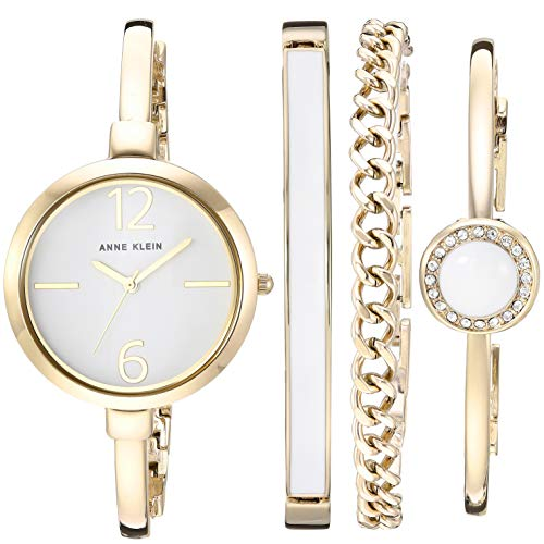 Anne Klein Women's AK/3290 Bangle Watch and Swarovski Crystal Accented Bracelet Set