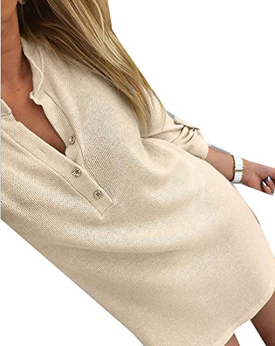 Mini Pullover neck Dress Cruiize Basic Loose Khaki V Womens Solid Long Sleeve xI8SzI