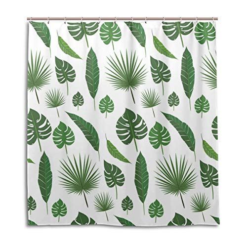 Amanda Billy Green Banana Leaf Wraps Natural Home Shower Curtain, Beaded Ring, Shower Curtain 72 x 72 Inches, Modern Decorative Waterproof Bathroom Curtains