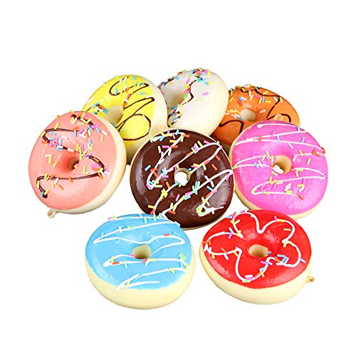 Longpro Realistic Artificial Cake Fake Donuts for Display High Simulation Artificial Dummy Foods Studio Photo Prop DIY Decoration Accessories Artificial Dessert Food Toys Set of ()