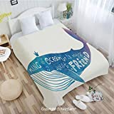 PUTIEN Flannel Fleece Blanket with 3D King of Ocean is My Best Friend in Watercolor Abstract Style Quote on Whale Print Sofa Blanket for Bedroom(39Wx49L)