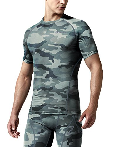 TSLA Mens Cool Dry Compression Baselayer Short Sleeve T-Shirt, Zero(r13) - Camo Grey, X-Small