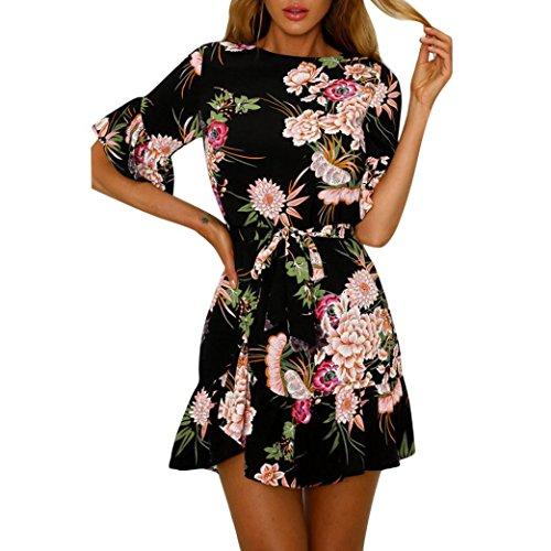 FORUU Women Casual Spaghetti Strap Floral Print Beach Style Skater Mini Dress (S, Black)