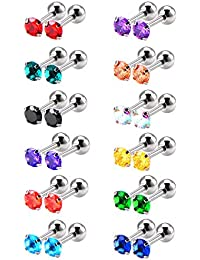 12 Pairs 18 Gauge Stainless Steel Cubic Zirconia Earring Stud Helix Earrings, 12 Colors