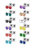 Mudder 12 Pairs 18 Gauge Stainless Steel Cubic Zirconia Earring Stud Helix Earrings, 12 Colors