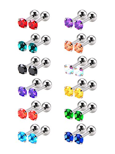 Mudder 12 Pairs 18 Gauge Stud Earrings Stainless Steel Barbell Studs Helix Earring Body Piercing Jewelry, 12 Colors (Cubic Zirconia) ()