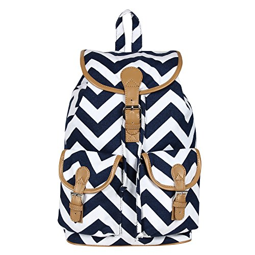Lychee Bags Women's Blue  White Canvas Lacey Backpack