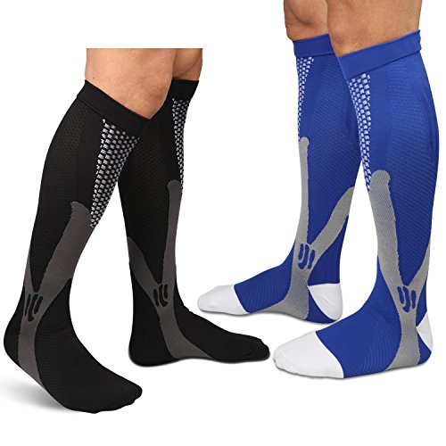 Sedremm Compression Socks for Athletic Sport Travel Boost Stamina Recovery Blood Circulation 2 pairs