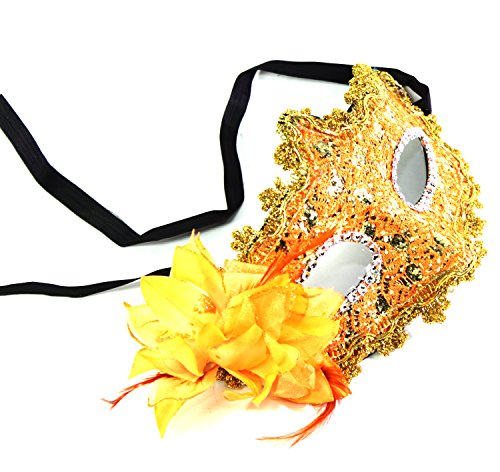 We pay your sales tax WPYS- Women's Flower Feather Lace Eye Mask Masquerade Ball Party Halloween Costume (Orange) ()
