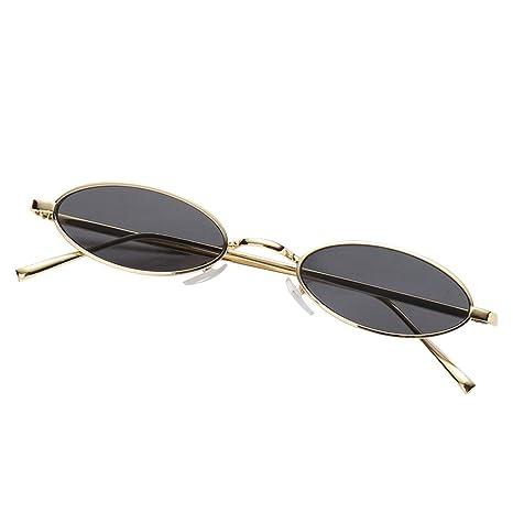 AOLVO - Gafas de Sol ovaladas pequeñas, diseño Vintage con Marco de Metal Retro, Redondas, HD, para Mujeres y niñas C7