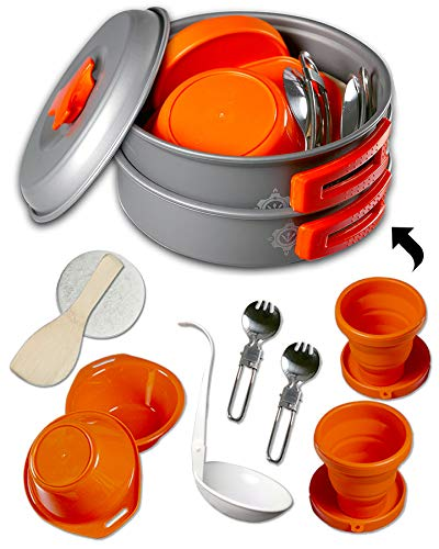 Gear4U: Best BPA-FREE Camping Cookware Set - Mess Kit - 13 Pieces including Free Bonus - Non-Stick Anodized Aluminum - Complete Lightweight Folding Kit for Camping Hiking & Backpacking Outdoor Cooking ()