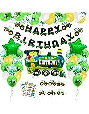 Tractor verjaardag decoratie, tractor verjaardag decoratie jongen, bouwdecoratie verjaardagsdecoratie, tractor luchtballon, bouwplaats kinderverjaardag feestdecoratie, tractor folieballonnen voor 1-10 jaar verjaardag jongens