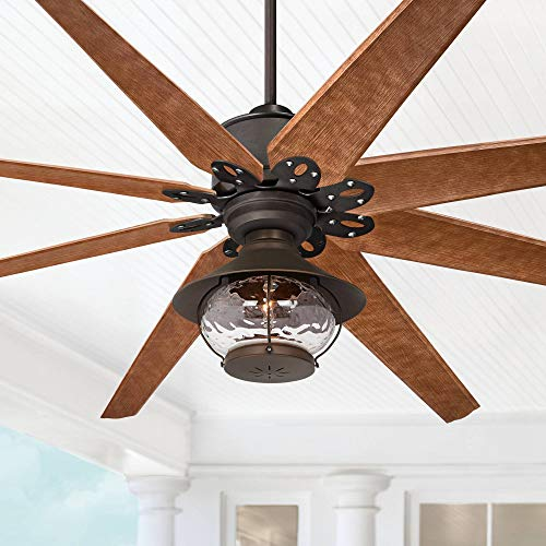 72' Predator Outdoor Ceiling Fan with Light LED English Bronze Cherry Blades Hammered Glass Lantern Damp Rated for Patio Porch - Casa Vieja