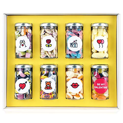 Valentine Gift – 8 Retro Sweet Jars in Gift Box with 'Be My Valentine' Message