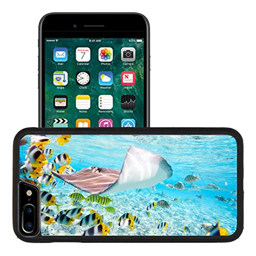 iPhone 7 plus iPhone 8 plus Aluminum Snap Case Colorful fish stingray and black tipped sharks underwater in Bora Bora lagoon IMAGE ID 15120881 (Bora Crystal)