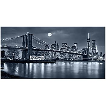 Live Art Decor   Large Size Brooklyn Bridge Canvas Wall Art,Moon Night New  York City Scene Picture Print On Canvas,Framed Gallery Wrapped,Modern Home  And ...