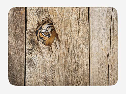 YVSXO Safari Bath Mat, Siberian Tiger Eye Looking Through Wooden Peep Hole in Spy Predator Big Cat Wild Print, Plush Bathroom Decor Mat with Non Slip Backing, 23.6 W X 15.7 W Inches, Tan