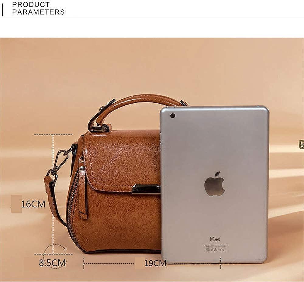 KOON Womens Cowhide Simple Fashion Wild Top Handle Shoulder Messenger Bag