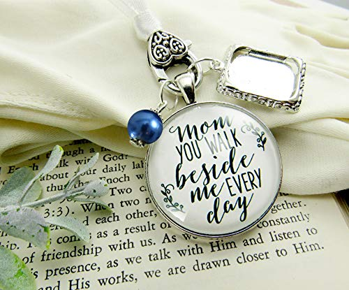 Bouquet Blank - Wedding Bouquet Photo Charm Mom You Walk Beside Me Every Day White Bridal Pendant Blue Bead Mother Remembrance Memorial Photo Jewelry