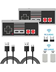 2 Pack NES Wireless Controller, AGPTEK NES Classic Wireless Controller for Nintendo Classic Mini Edition and PC,No-Wired Gamepad Joypad Support Windows/Mac OS/Linux