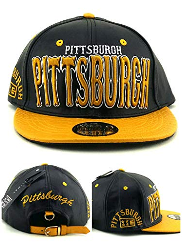 E-Flag New Leader Pittsburgh Stacked Leather Steelers Colors Black Gold Era Strapback Hat Cap