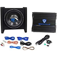Rockville RV8.1A 400w 8 Loaded Car Subwoofer Enclosure+Mono Amplifier+Amp Kit