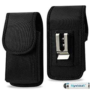 Samsung Mega 6.3 Vertical Black Heavy Duty Rugged Canvas Case with Metal Clip and Belt Loop (For Phone only, NOT for Phone with Cover on it) . Great for Hiking, Camping, Outdoor and Construction Work (MH02D) + MYNETDEALS Mini Touch Screen Stylus