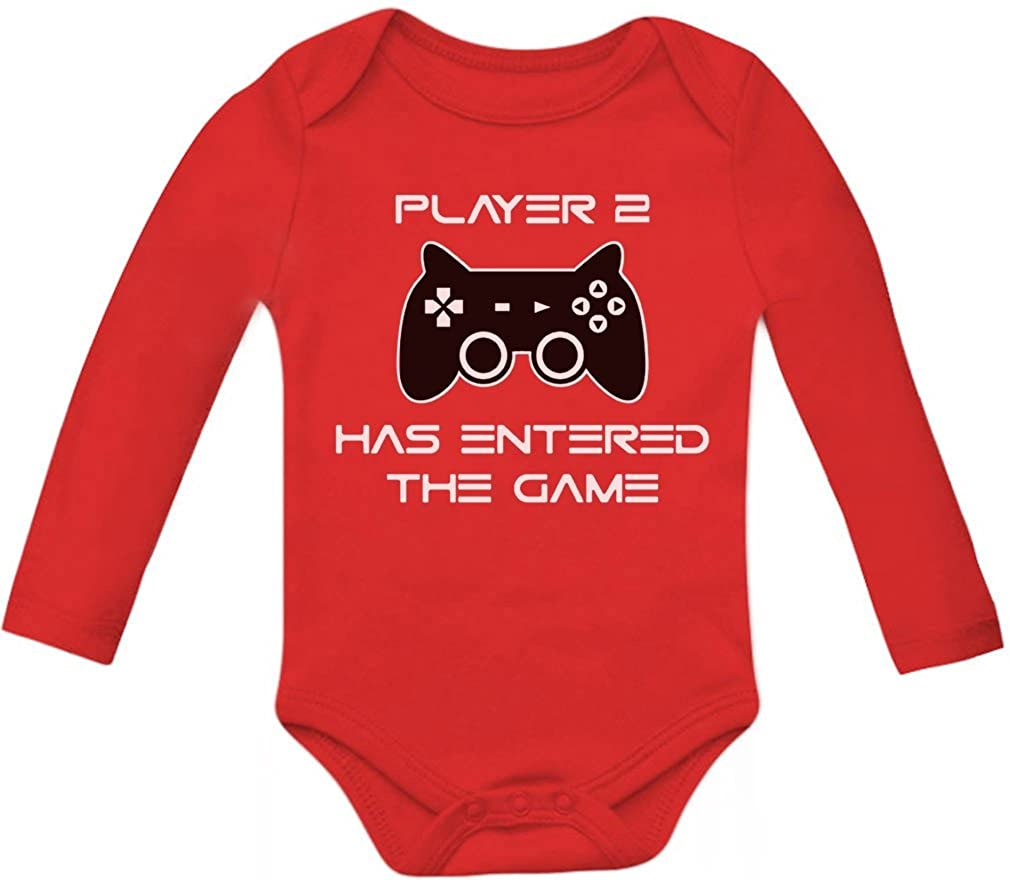 Player 2 Has Entered The Game - Gift 2nd Child  Baby Gamer  Long Sleeve Onesie GM03ZZgb