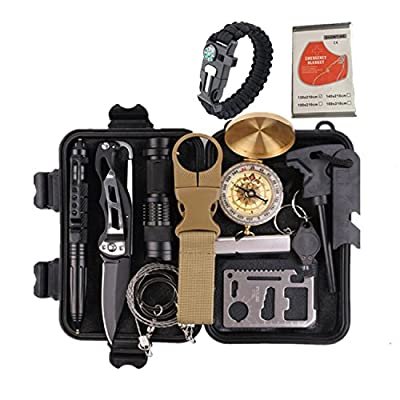 Survival Gear Kits 14 in 1- Outdoor Emergency Survive Tool for Wilderness /Trip / Hiking / Camping gear / Survival Bracelet, Wire Saw, Emergency Blanket, Flashlight, Tactical Pen, Water Bottle Clip by SurvIve