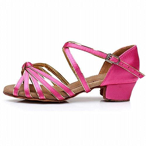 BYLE Sandalias de Cuero Tobillo Modern Jazz Samba Zapatos de Baile Zapatos de Baile Latino de Satén Estilo Clásico Performances Mostrar Zapatos Rojos. Onecolor