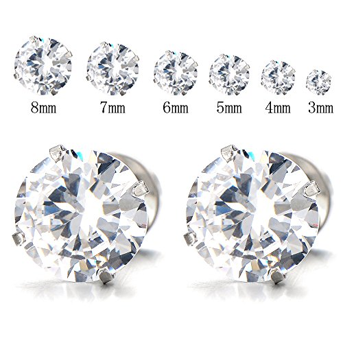 Ladies White Zirconia Earrings Stainless