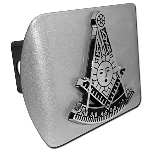 Elektroplate Masonic Compass Sun and Quadrant Past Master Brushed All Metal Hitch Cover