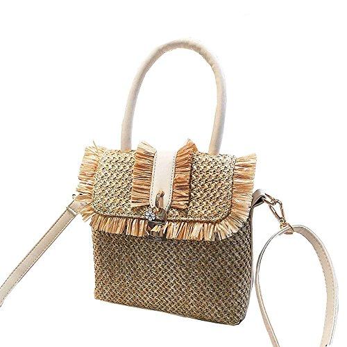 bag Khaki Summer Khaki Bag Shoulder Single Straw Handbag TOOGOO shoulder Vacation Fashion pP7Yvzqwfc