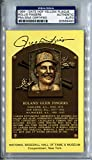 ROLLIE FINGERS Signed Yellow HOF Plaque Postcard PSA/DNA Slabbed Oakland Athletics San Diego Padres Milwaukee Brewers 1992 Hall of Fame Member