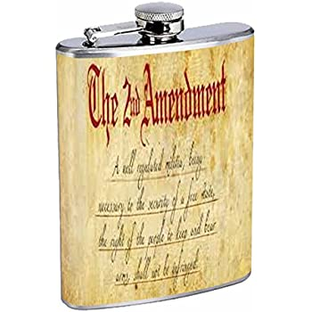 4ae2999484e1 2nd Amendment Flask D2 8oz Stainless Steel Bill of Rights Keep and Bear  Arms Gun Rights