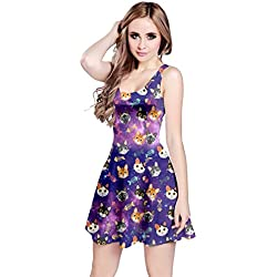 CowCow Womens Cat Face Space 2 Pet Pattern Sleeveless Dress, Cat - XL