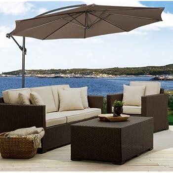 Delightful Patio Furniture Patio Umbrella Premium® Patio Furniture 10u0027 Hanging Umbrella  Patio Sun Shade Offset Outdoor Market W/ Cross Base Tan New