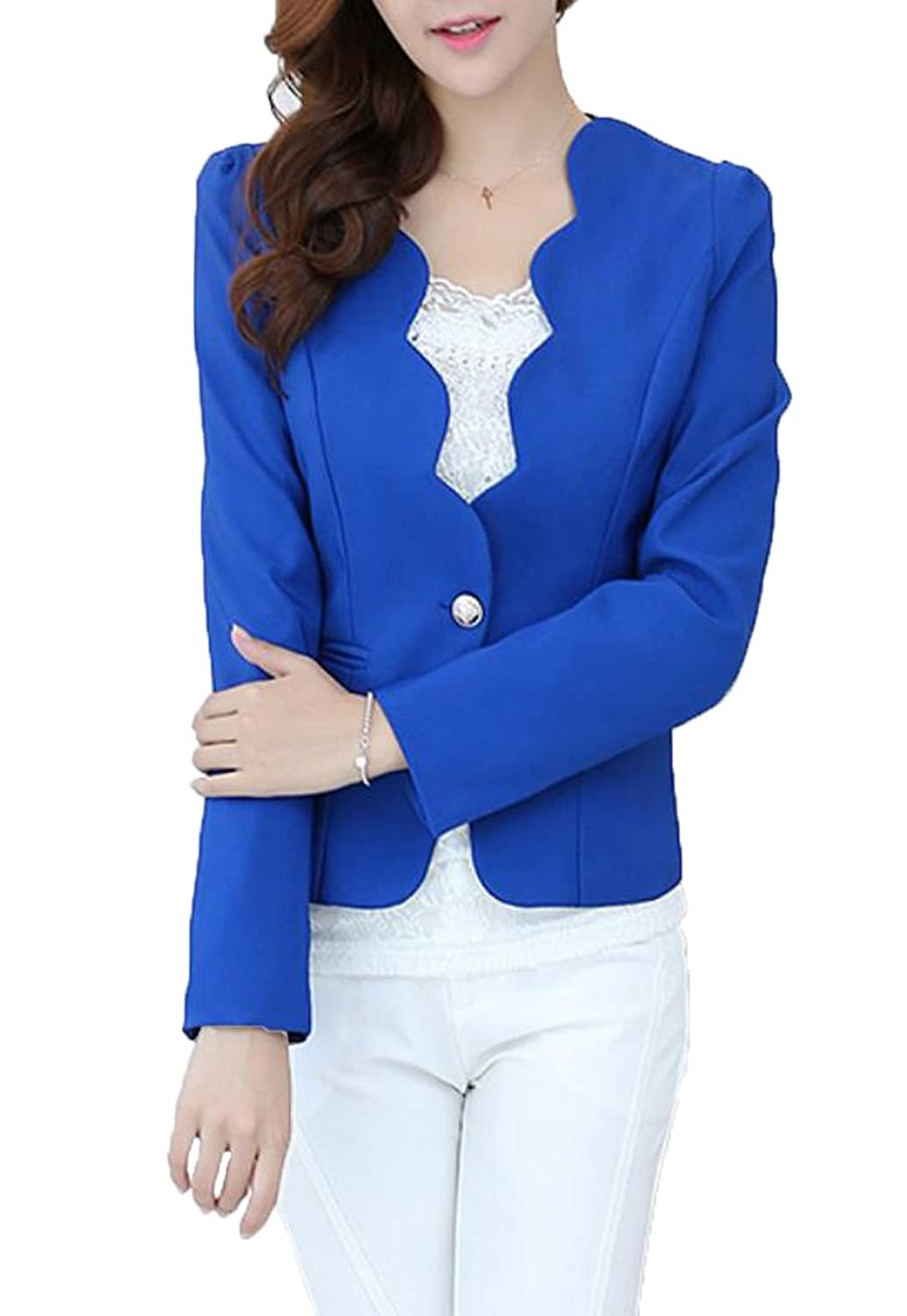 WANSHIYISHE Womens One Button Solid Notch Lapel Slim Fit Blazer Jackets