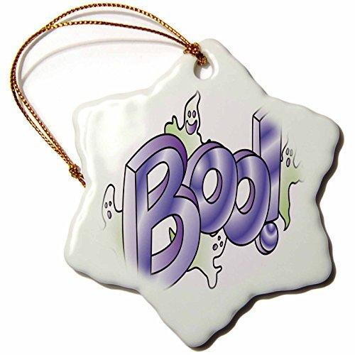 Christmas Ornament Anne Marie Baugh - Halloween - Cute Halloween Ghosts Say Boo - Snowflake Porcelain Ornament