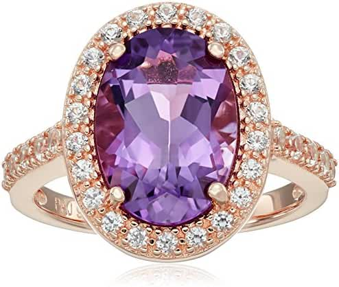 Rose Gold Plated Sterling Silver Oval Genuine Amethyst 9x13mm and Round Created White Sapphire Halo Ring, Size 7