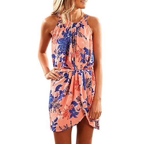 Casual Summer Dress,Women's Sleeveless Halter Neck Floral Print Mini Dress Sexy Tank Dress with Belt Chaofanjiancai Orange