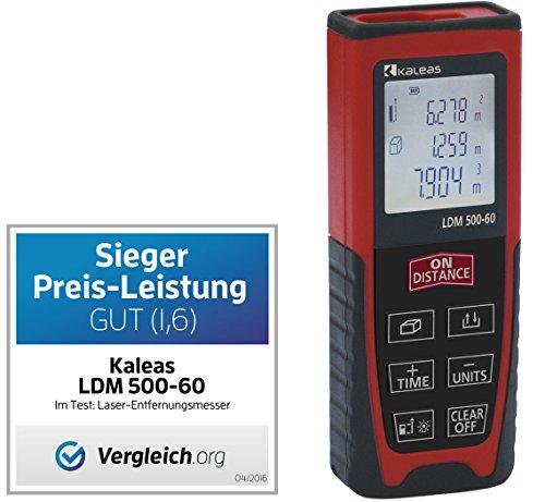 Kaleas Profi-Laser-Entfernungsmesser LDM 500-60 für Entfernung bis 60m [Genauigkeit ±1.5mm] (34056)