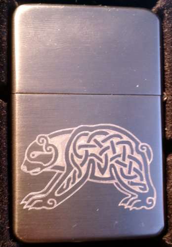 Cigarette Vector Lighter (Vector KGM Thunderbird Custom Lighter - Celtic Bear Walking Tattoo Logo GUN Metal Satin Chrome Rare!)