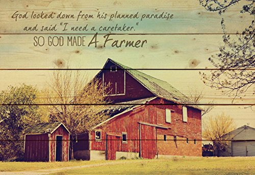 So God Made a Farmer Old Red Barn 25 x 36 Wood Pallet Wall Art Sign Plaque