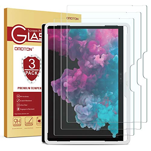 OMOTON [3-Pack] Screen Protector for Surface Pro 6 / Surface Pro (5th Gen) / Surface Pro 4 - Tempered Glass/Guide Frame/Scratch Resistant