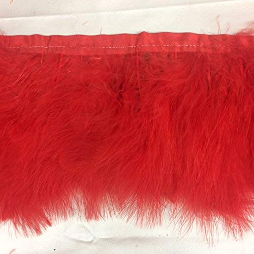 Marabou Turkey Fluffy Feather Trim 3''-4'' Long (Selling Per Yard) in Red Color Marabou Feather Trim
