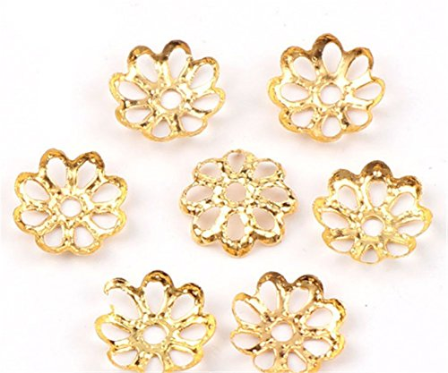 Caps Gold Bead - Beautiful Bead 6mm Gold Tone Flower Bead Caps for Jewelry Making (About 500pcs) (8mm, Gold)