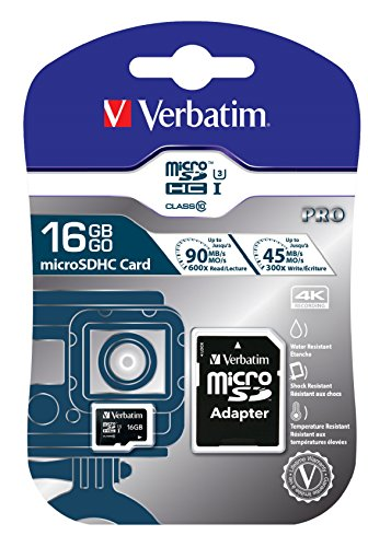 Verbatim 16GB Pro 600X microSDHC Memory Card with Adapter, UHS-I V30 U3 Class 10 by Verbatim